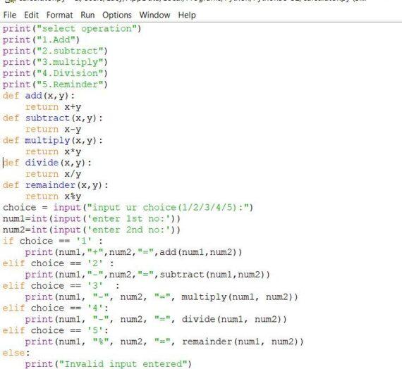 Simple Calculator Program In Python