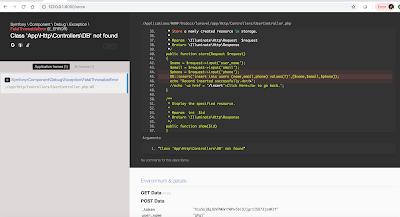 Symfony \ Component \ Debug \ Exception \ FatalThrowableError (E_ERROR) . Class 'App\Http\Controllers\DB' Not Found.