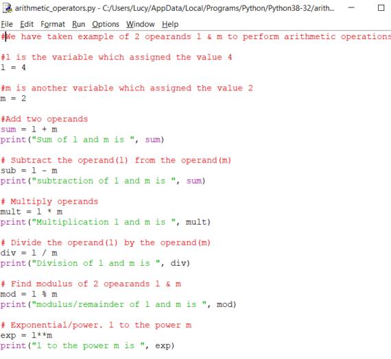 Arithmetic Operators In Python